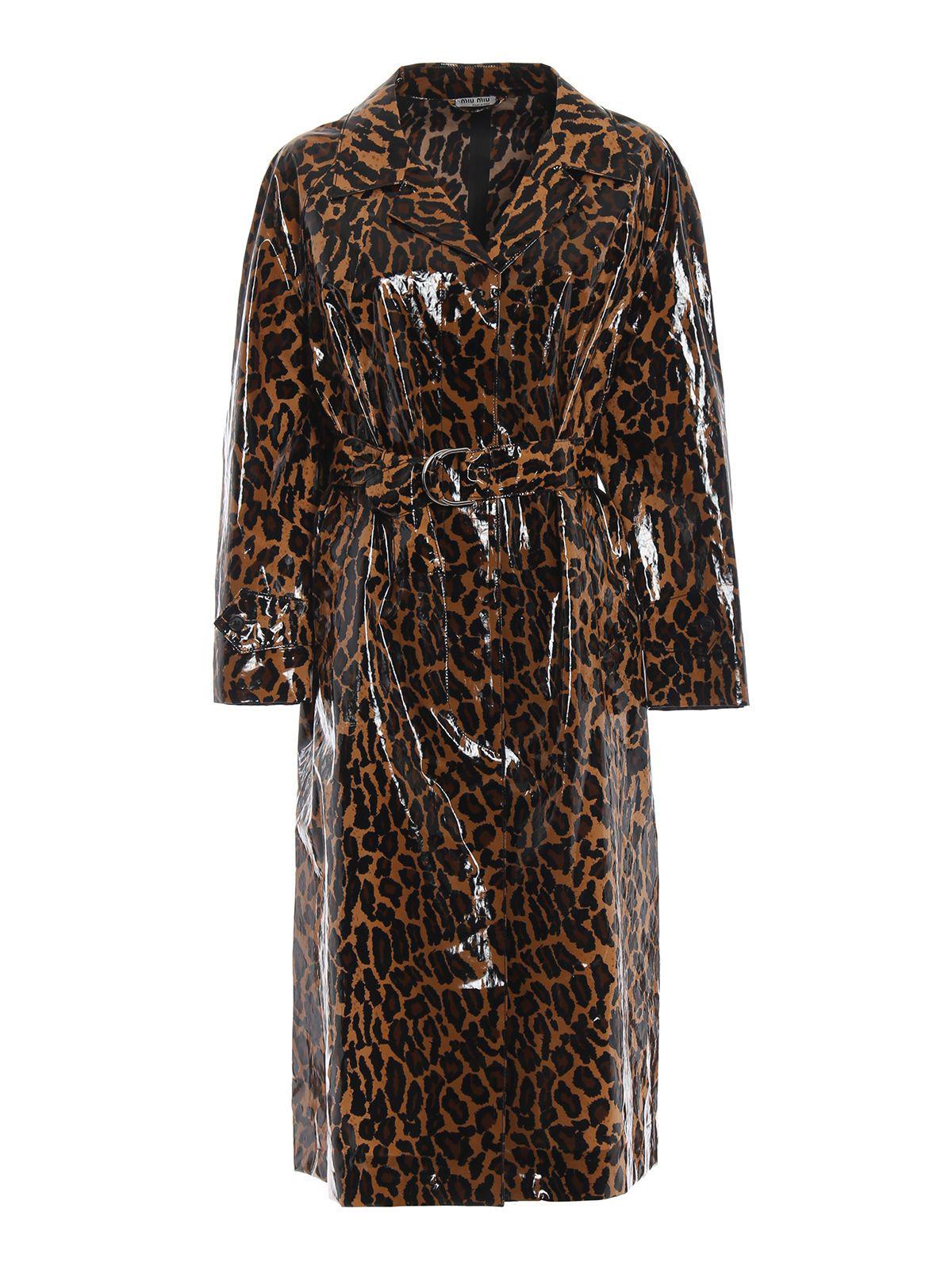 0945cf856f24 Miu Miu Belted Leopard-Print Glossed-Pu Cotton Trench Coat In Brown ...