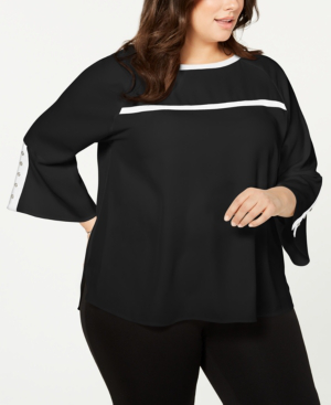 e760f15171f03 Calvin Klein Plus Size Bell-Sleeve Contrast-Trim Blouse In Black ...