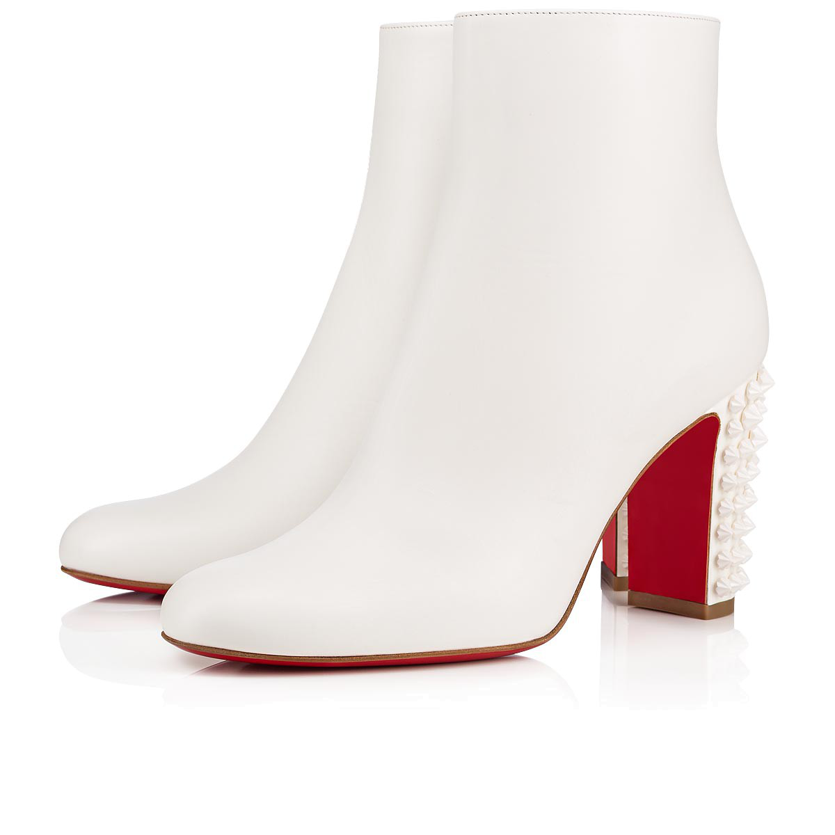 262ddcf44057 Christian Louboutin Suzi Folk 85 Studded Leather Booties In Snow Snow