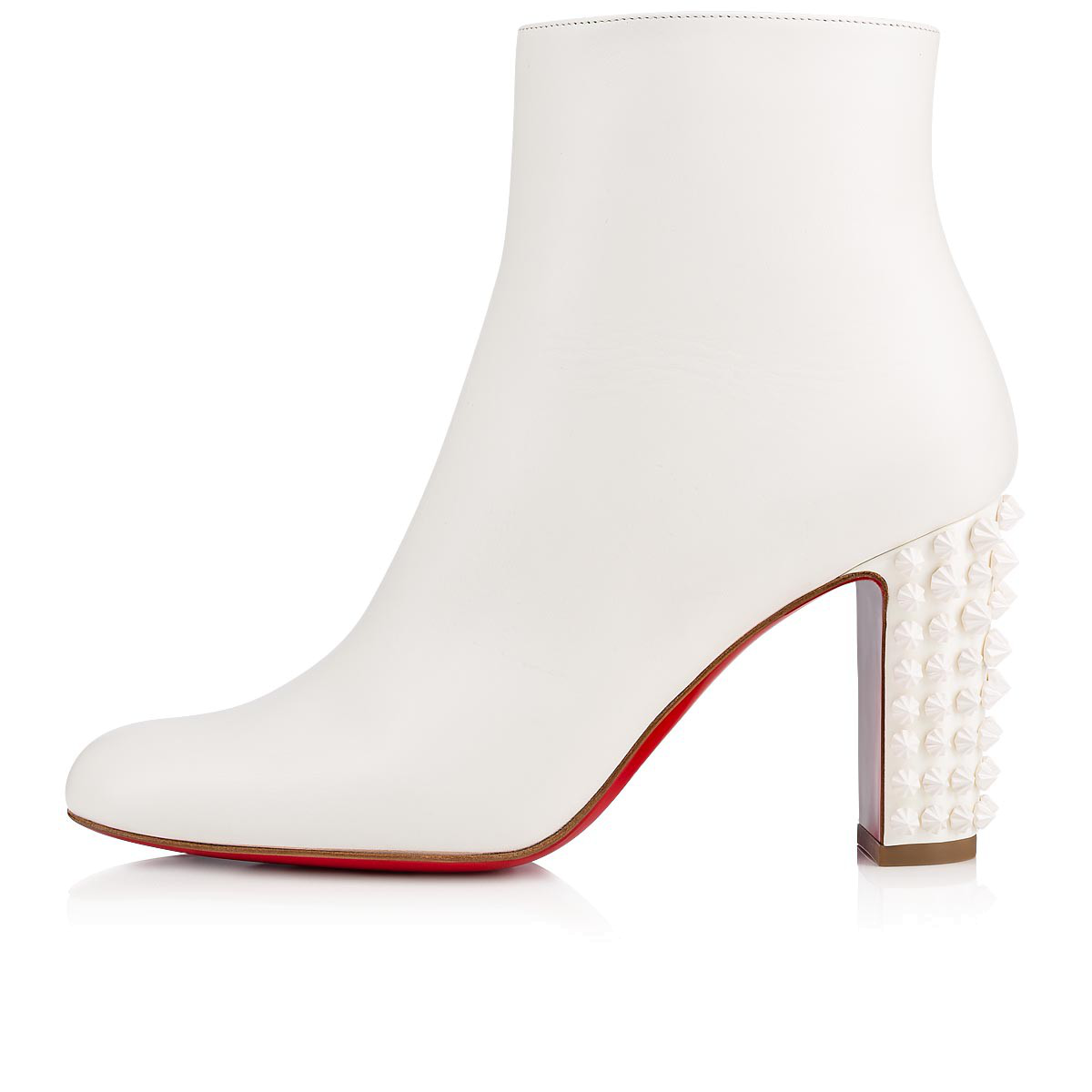 newest 22c71 566ad Suzi Folk 85 Spiked Leather Ankle Boots in White
