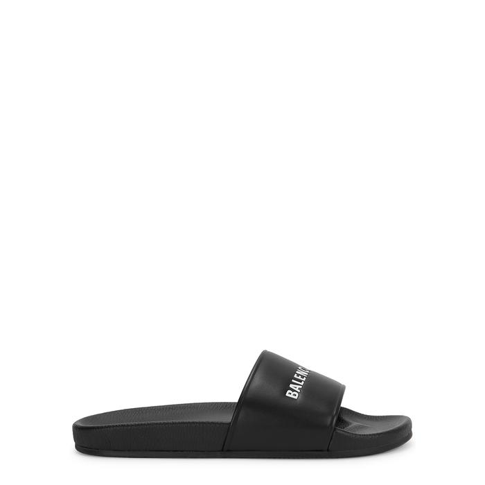 cbdf4ef9b5f4 Balenciaga Logo-Stamped Leather Slide Sandals In 1006