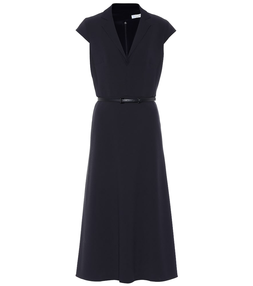 fab9b053f Max Mara Silvia Belted Stretch-Wool Midi Dress In Blue | ModeSens