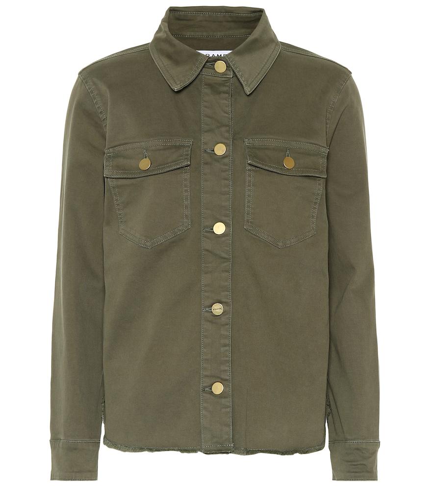 673ea56afc8 Frame Le Vintage Button-Front Denim Jacket In Green
