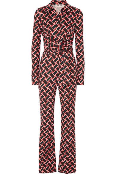 b3350adec1f Diane Von Furstenberg Alexis Printed Silk-Jersey Jumpsuit In Black ...
