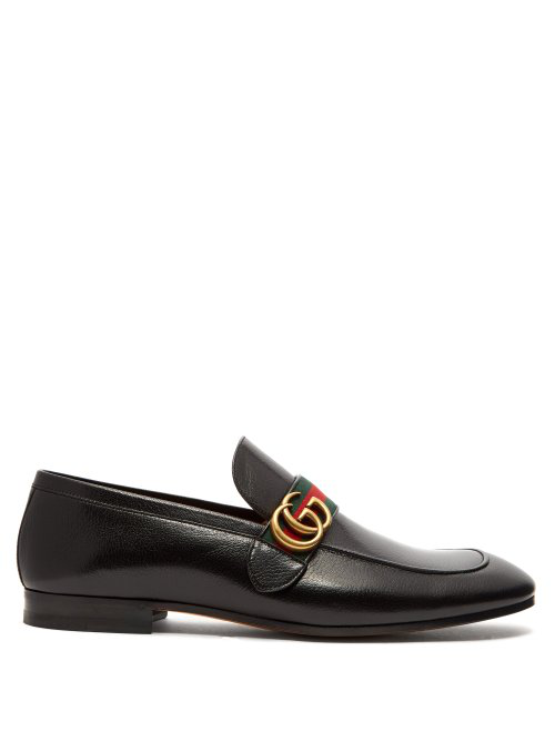 Gucci Men's Leather Loafers Moccasins  Quentin In Black