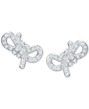 Silver Tone Pave Small Bow Stud Earrings In White