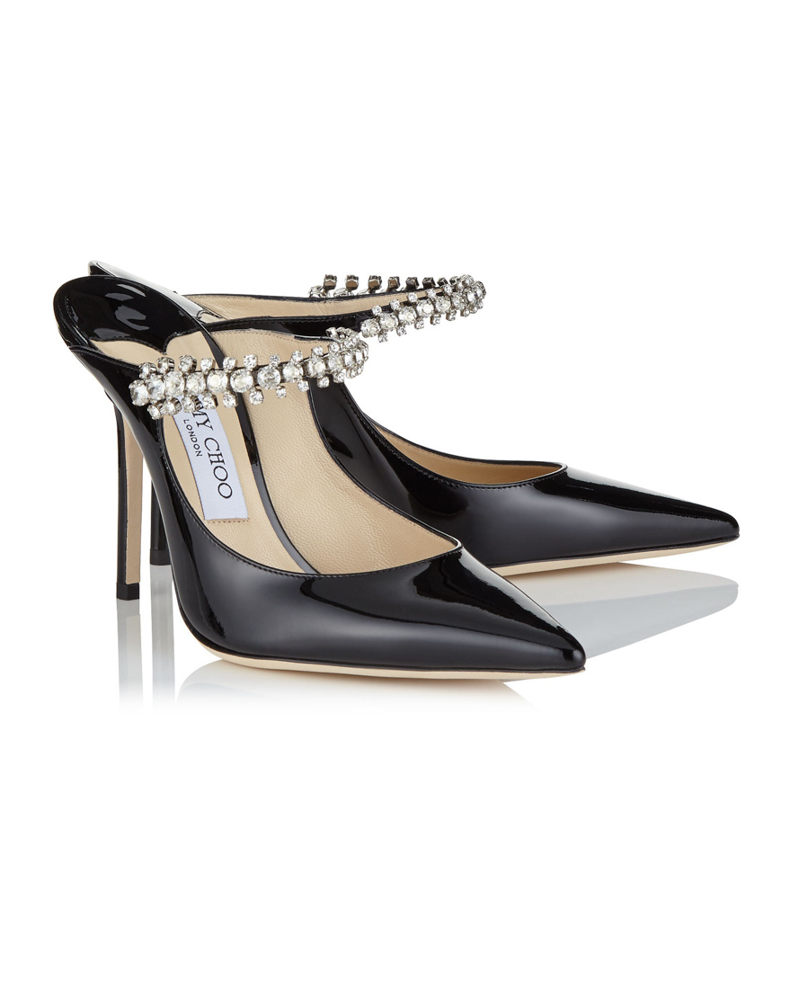 5073b2b49c9 Jimmy Choo Bing 100 Crystal-Embellished Patent-Leather Mules In Black