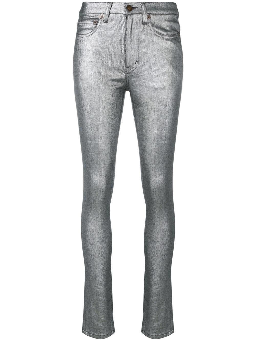 7f2edb8ed1 High-Rise Metallic Skinny Jeans in Silver