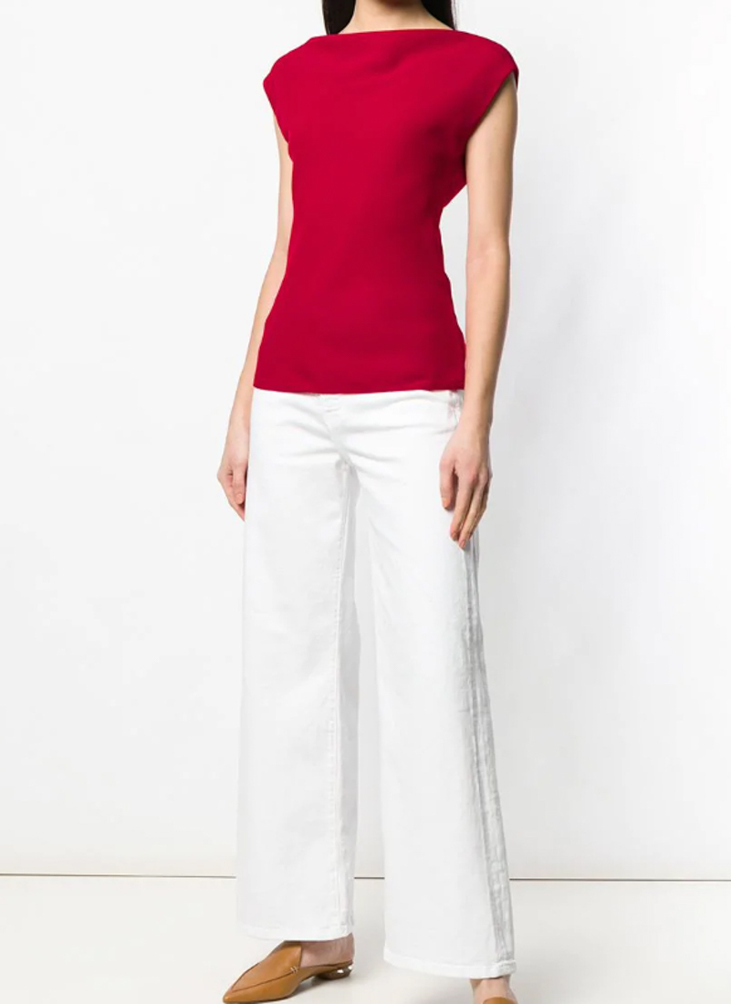 c183806dc1 Theory Draped Boat-Neck Classic Crepe Top In Red | ModeSens