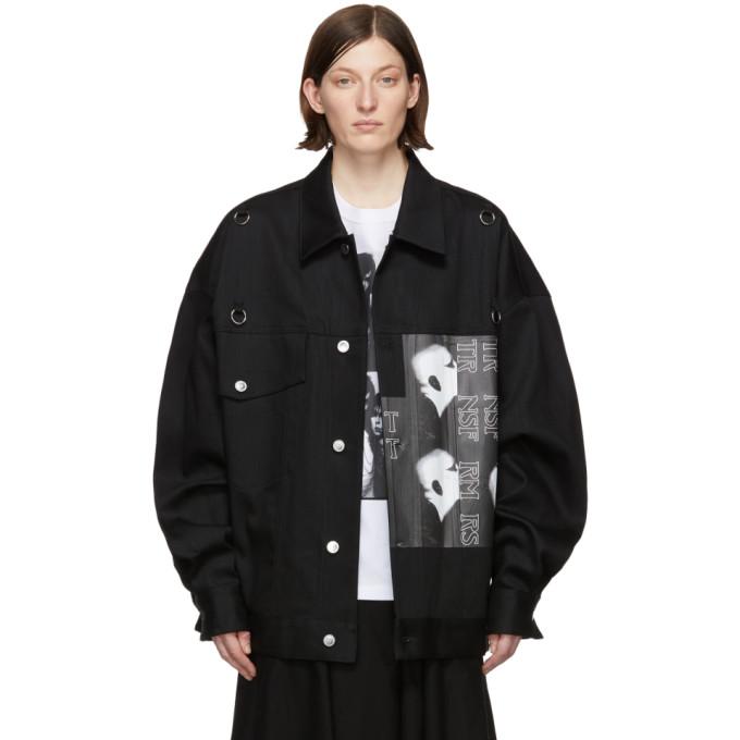 18ee933bc40 Raf Simons Black Denim Oversized Head Jacket In 00099 Black