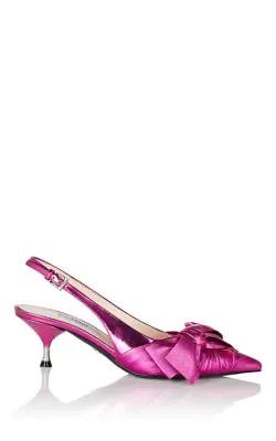 46360658d62 Prada Bow-Embellished Metallic Leather Slingback Pumps In Pink ...