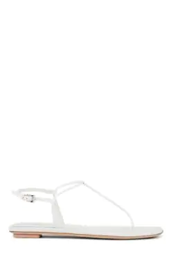 Prada Flat Patent Leather Thong Sandals In White