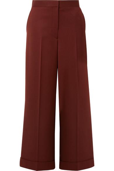 The Row Ane Wool Wide-Leg Pants In Burgundy