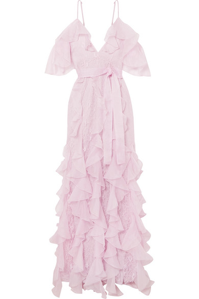 d91ca867cb2c Alice Mccall My Baby Love Cold-Shoulder Ruffled Silk-Organza And Corded  Lace Maxi