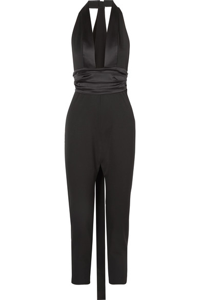 8d144b0503c Dundas Satin-Trimmed Grain De Poudre Wool-Blend Jumpsuit In Black ...