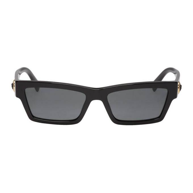 6d76f8dd94640 Versace Black Medusa Rectangular Sunglasses In Gb1 87 Blac