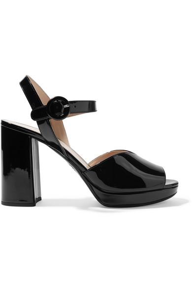78a8849679c5 Prada 95 Patent-Leather Platform Sandals In Black