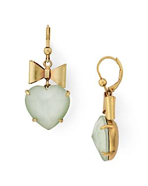 dc38e199b Tory Burch Heart & Bow Drop Earrings In Shiny Brass/ Mint Green ...