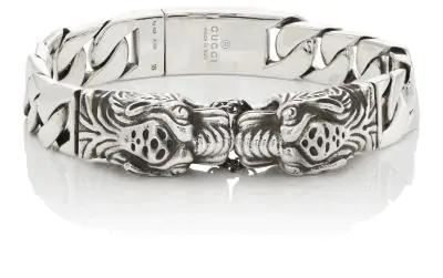14f007f04e4 Gucci Sterling Silver Tiger Head Motif Gourmette Bracelet