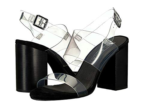 665ca9a4a887 Sol Sana Women s Mavis Transparent Strap Block Heel Sandals In Black Suede