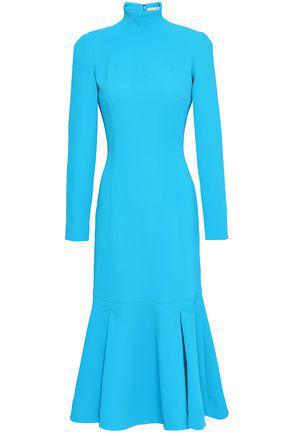 1798a220850a Emilia Wickstead Woman Fluted Crepe Turtleneck Midi Dress Turquoise ...