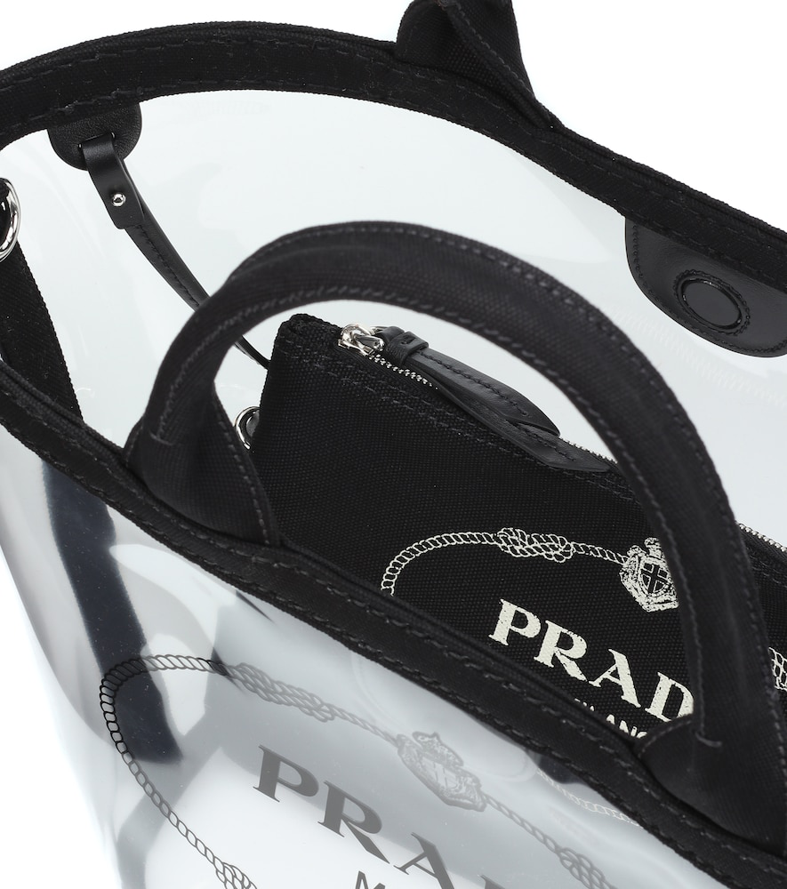Printed Tote Prada In Modesens Pvc Trimmed Leather Black qRddAC
