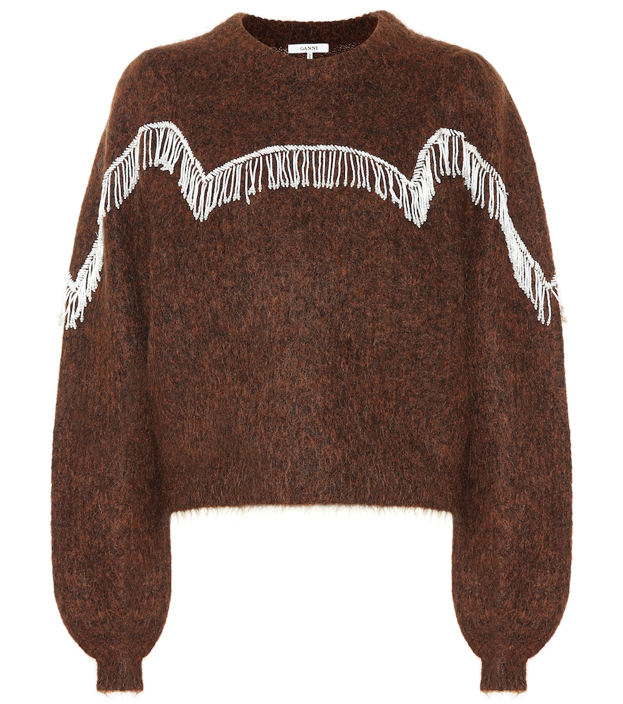 871d59141c56f Ganni Heavy Soft Wool Knit Puff Sleeve Pullover In Brown