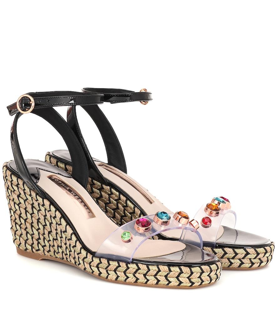 7d43ceb307cc Sophia Webster Dina Embellished Vinyl And Patent-Leather Espadrille Wedge  Sandals In Black