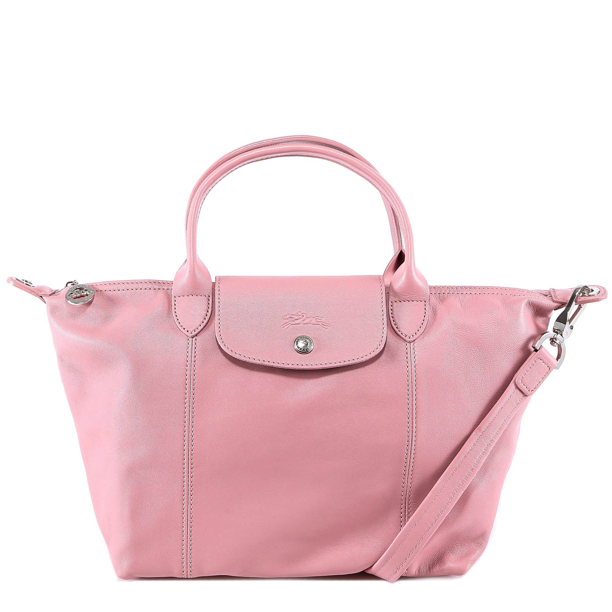 11797eb7e82 Longchamp Le Pliage Cuir Tote Bag In Pink