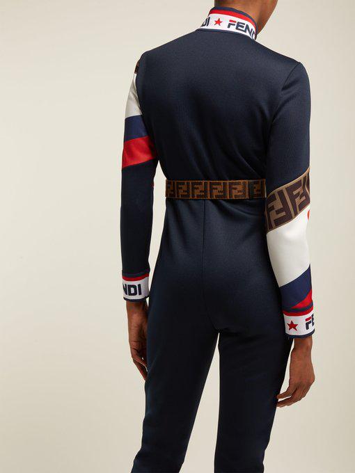 aecb72c1f03c Fendi - Mania Logo Piqué Jersey Jumpsuit - Womens - Navy Multi ...