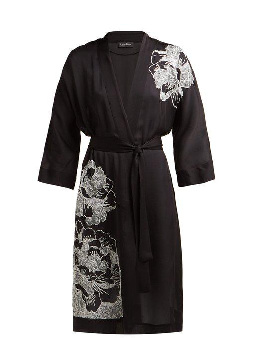 cc92536062b Carine Gilson - Floral Embroidered Silk Satin Robe - Womens - Black White