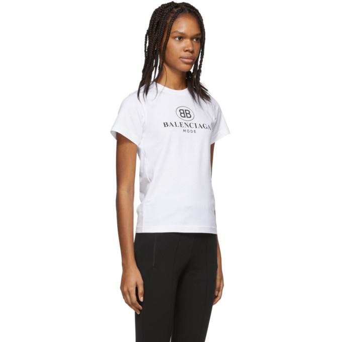 f670b1a0fabb Balenciaga Women's White Logo-Print Cotton-Jersey T-Shirt   ModeSens