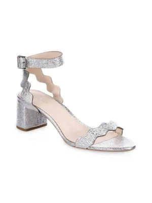 b2fc131efde Loeffler Randall Emi Scallop Leather Block Heel Sandals In Topaz ...