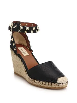 4a84ae64c23 Valentino Grain Calfskin Leather Rockstud Double Wedge Espadrilles 65Mm In  Black