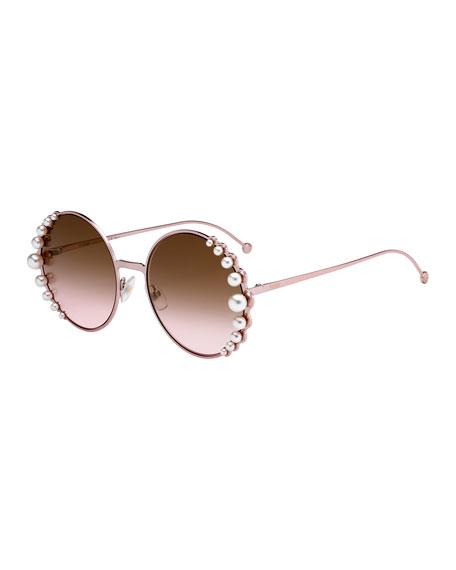 63f647de88d6 Fendi Women s Ribbons And Pearls Oversized Round Sunglasses