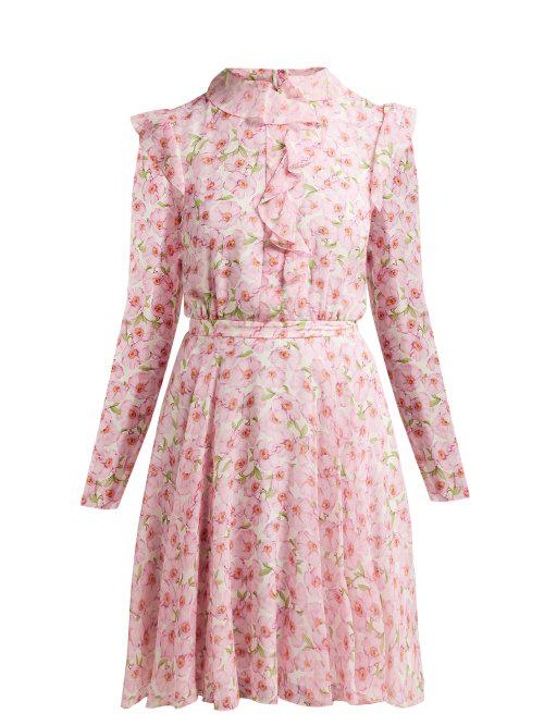 4c330e741f990 Giambattista Valli Peony-Print Ruffled Silk Mini Dress In Ivory Multi