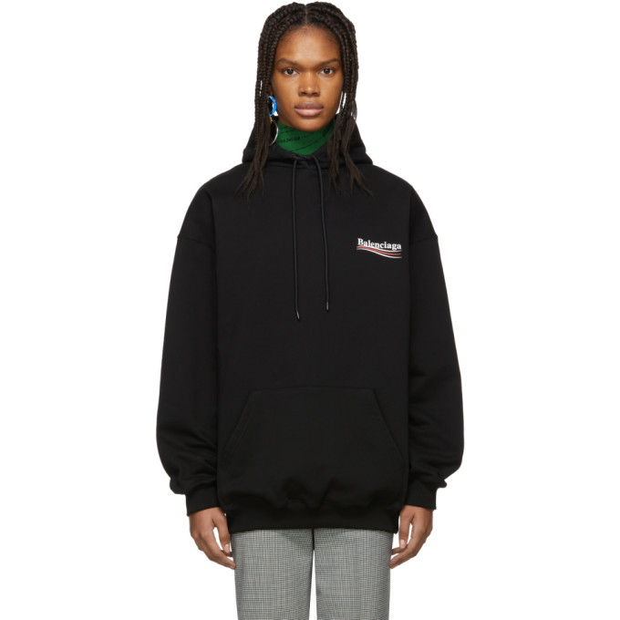 0f1ab5c596d Balenciaga Black Oversized Logo Hoodie In 1000 Black