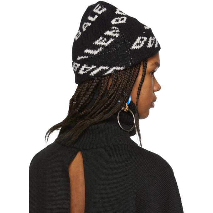 540f5b81da433 Balenciaga Logo Intarsia Wool-Blend Beanie In 1070 Blk Wh