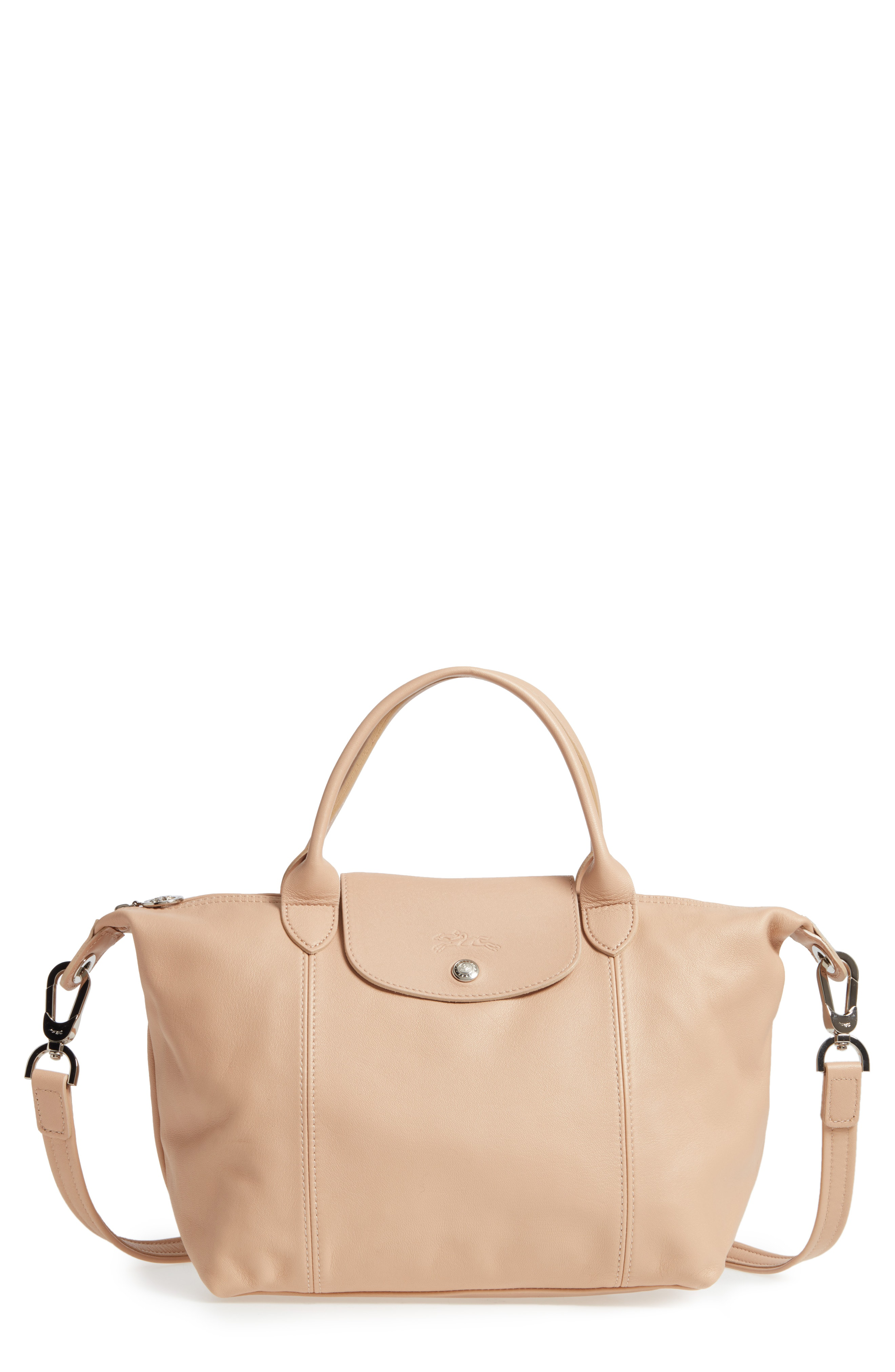 Small 'le Pliage Cuir' Leather Top Handle Tote In Gold Beige