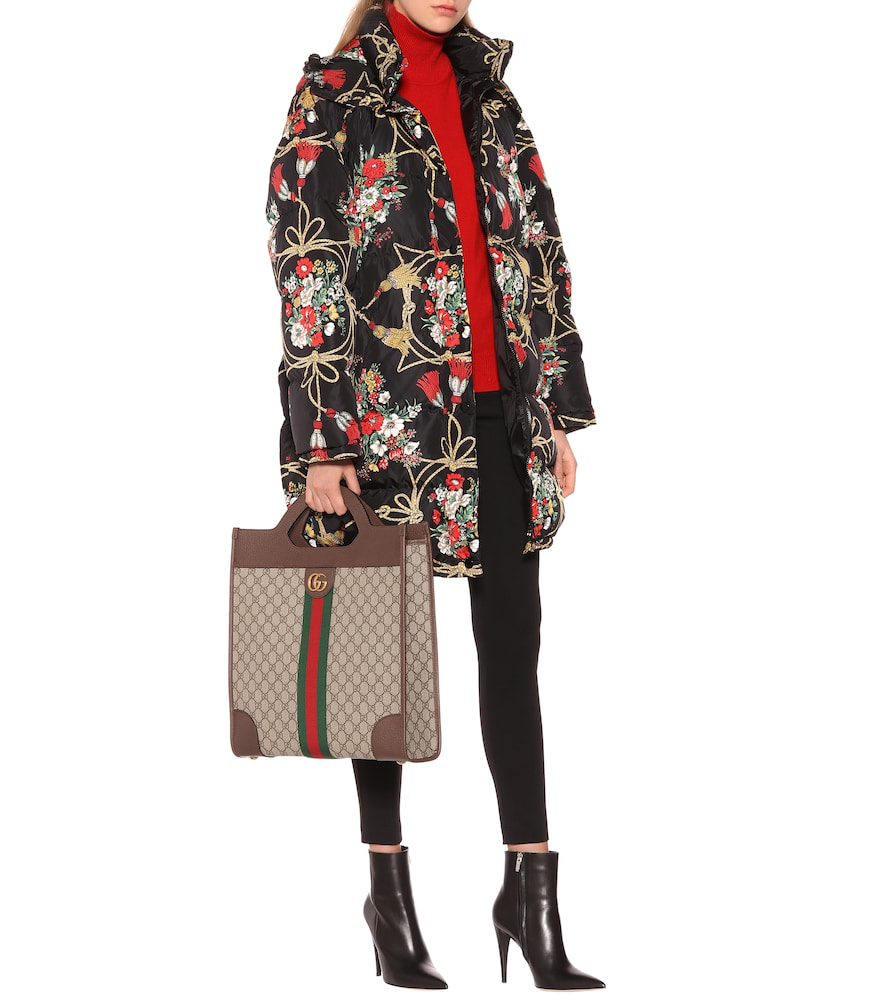 869b44d5f Gucci Padded Cape Coat With Flowers And Tassels In Black   ModeSens