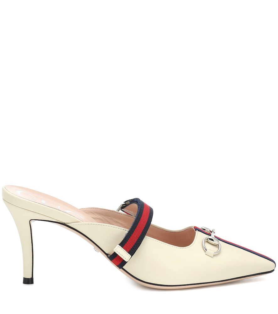 Gucci Horsebit-Detailed Grosgrain-Trimmed Leather Mules In Neutrals