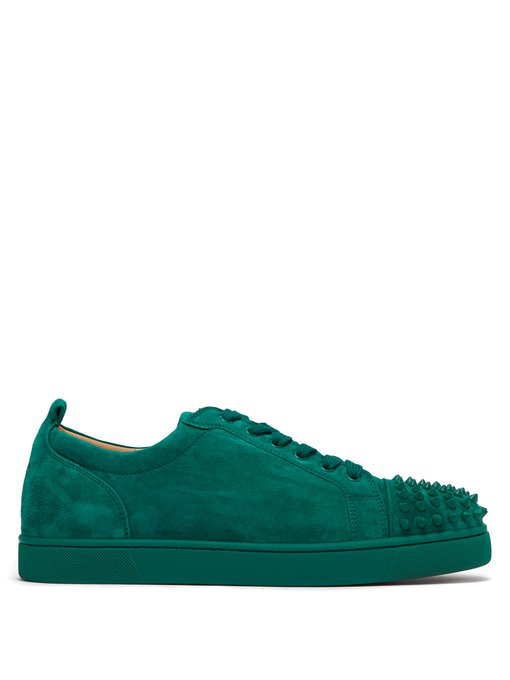 320e78b179a Christian Louboutin - Louis Junior Spike Embellished Leather Trainers - Mens  - Green