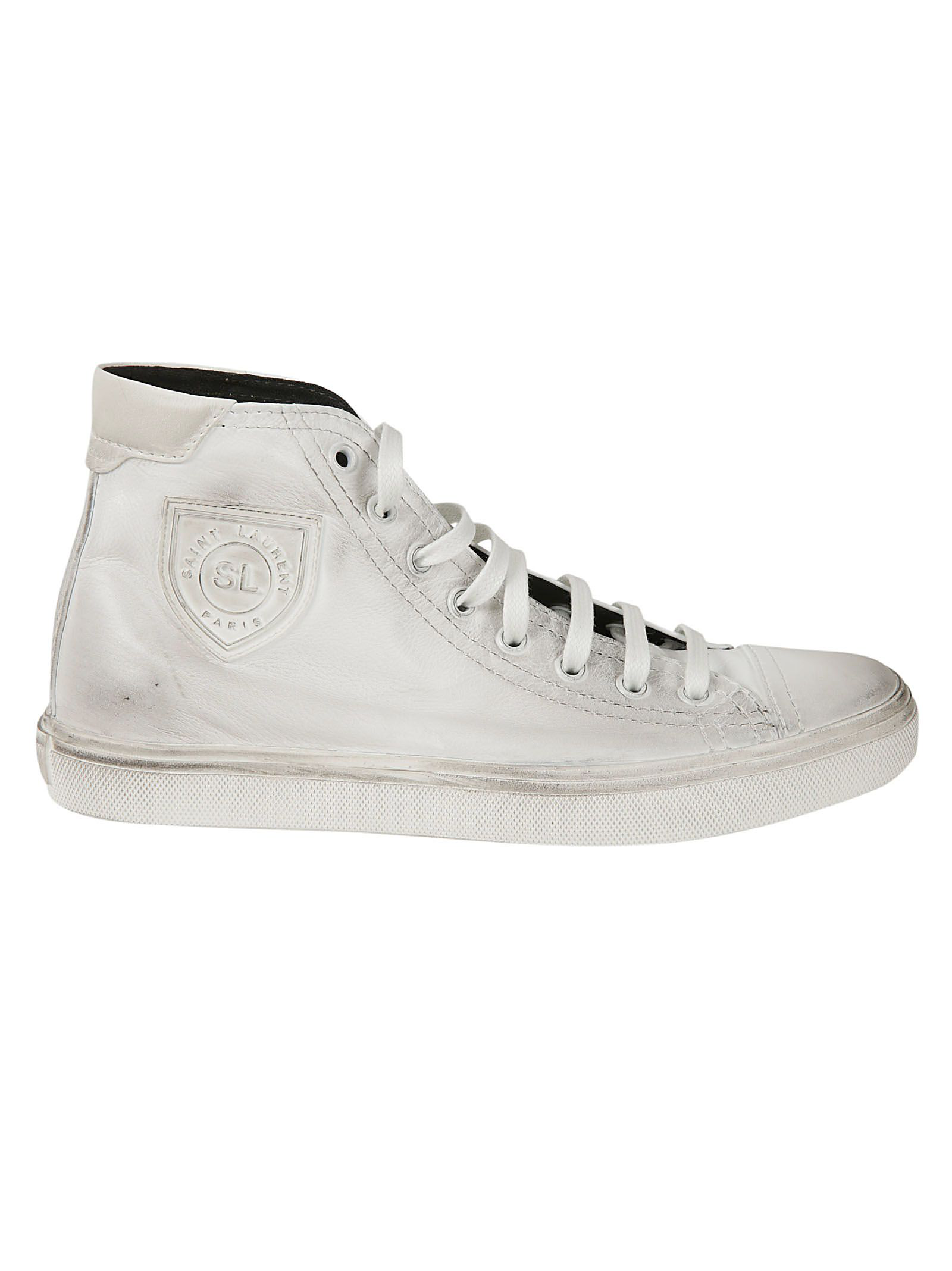 331546caf45 Saint Laurent Bedford Logo-Appliqued Distressed Leather High-Top Sneakers  In White