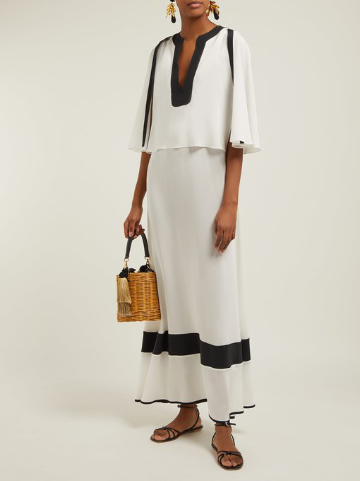 6bb3bd1746f Zeus + Dione - Callas Panelled Silk Maxi Dress - Womens - White Black