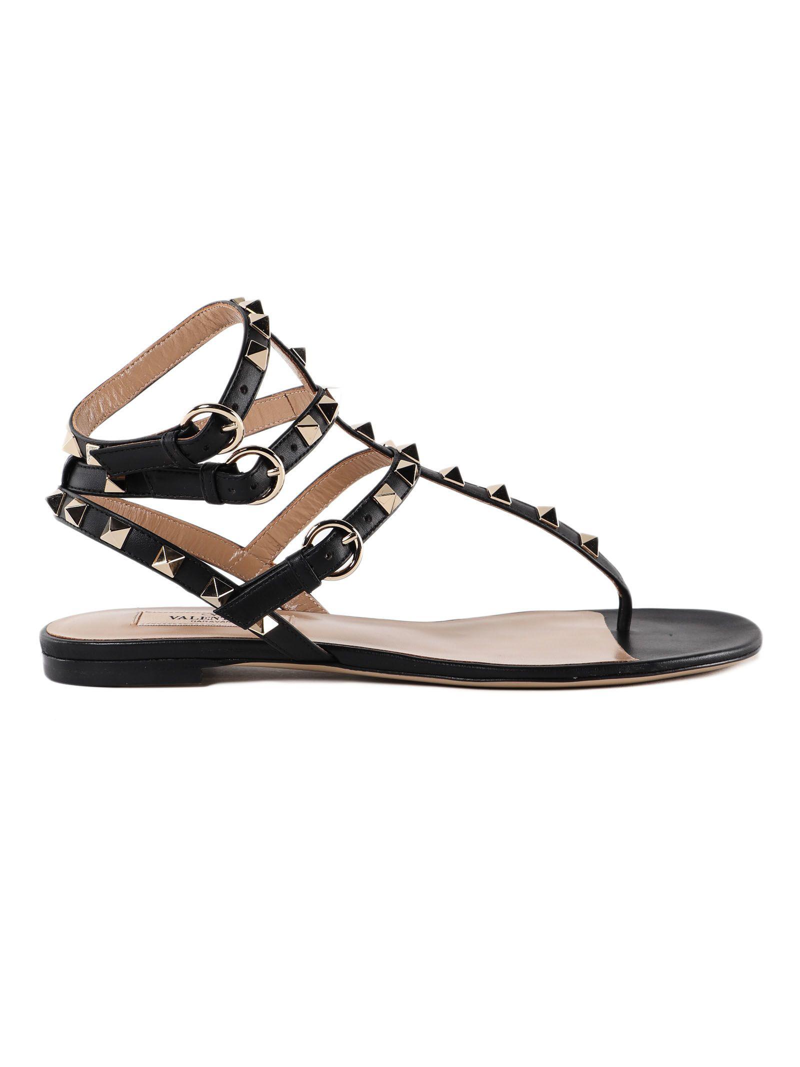 490dd2910b08 Valentino Rockstud Ankle-Wrap Flat Thong Sandals