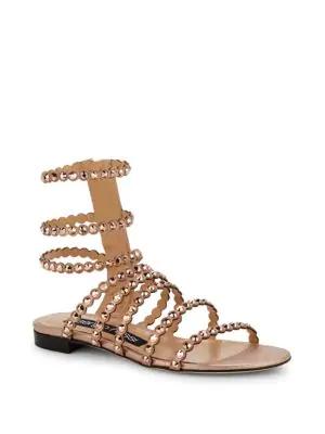 a727da493 Sergio Rossi Kimberly Suede   Jewel Gladiator Sandals In Metallic ...