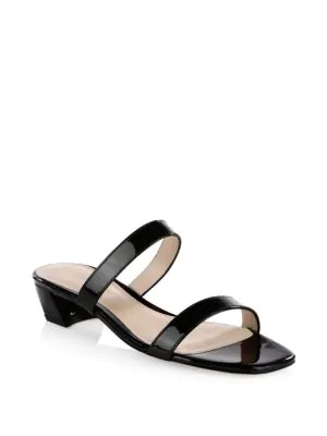 f16a63b0f7b9 Stuart Weitzman Women s Ava Patent Leather Slide Sandals In Black ...
