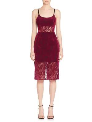ABS BY ALLEN SCHWARTZ Sheer Panel Lace Sheath Dress,0400093190591