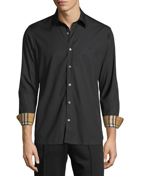 Burberry Men's William Signature Check-Facing Sport Shirt In Black