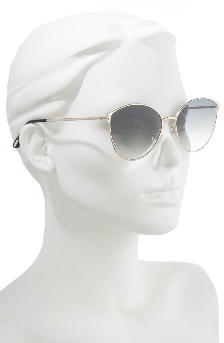 919206050a22 Tom Ford Zeila 60Mm Mirrored Cat Eye Sunglasses - Rose Gold  Black  Smoke